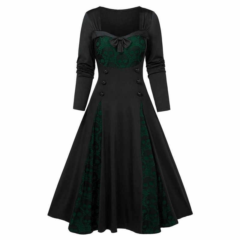Halloween crâne impression gothique robe femmes Vintage col carré enveloppé poitrine grande taille 5XL balançoire Rockabilly robe rétro N28