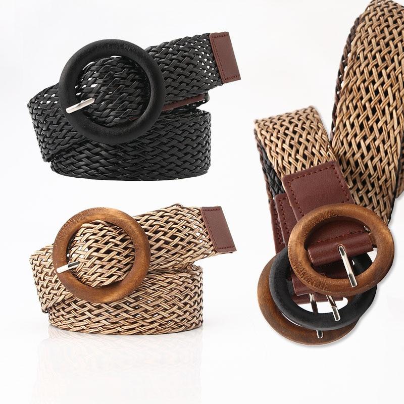 Vintage Boho Braided Waist Belt Black Coffee Female Belt Round Wooden Smooth Buckle Fake Straw Wide Belts For Women