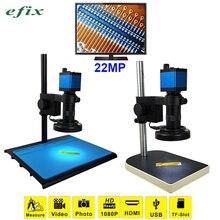 Efix 22MP HDMI HD USB монокулярный микроскоп объектив цифровой камеры+ 56 светодиодный кольцевой светильник для ремонта пайки телефона