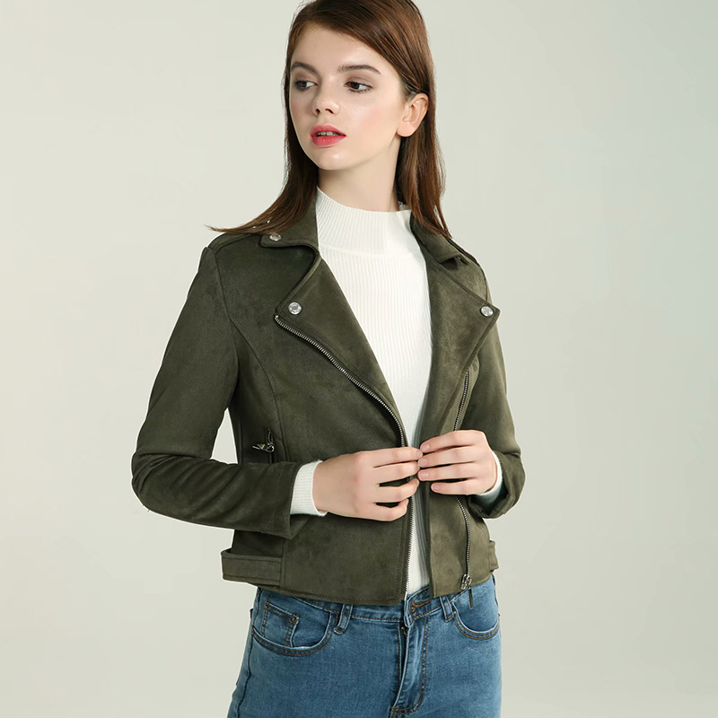 Streetwear Faux   Suede     Leather   Biker Jackets 2019 Autumn Women Long Sleeve Zipper   Suede   Coat Olive green Outfit Female Outwear