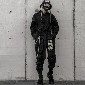 Image 3 - Aelfric エデン 2020 ヒップホップストリートジャンプスーツ男性リボン刺繍カーゴパンツ長袖ロンパースジョギング techwear 男性