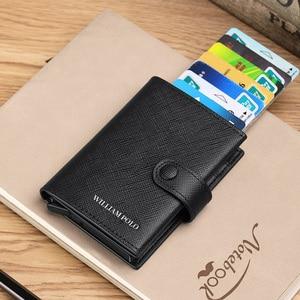Image 5 - Williampolo 100% 남성 정품 가죽 지갑 남성용 고급 브랜드 지갑 rfid 카드 케이스 슬림 지갑 선물 신용 카드 소지자