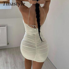Tinastyle Double Layers Mesh Bodycon Summer Dress Women Off Shoulder Sexy Bodycon Mini Dress Short Backless Beach Dress Vestidos