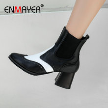 ENMAYER  Ankle Boots for Women Basic Pointed Toe Square Heel Slip-On High Heel Boots Mixed Colors Short Plush Women Shoes 34-43 women black leather knitted top high heel ankle boots slip on bandage thin heel short boots elegant boots formal dress shoes