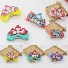 Crown Pearl 1Pcs Shiny Leather Crown Pearl Hairpins Stylish Barrettes Ribbon Bows Hair clips Accessories(China)