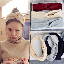 Womens Ribbed Cotton Headband Fashion Solid Soft Cross Knot for Women Stretchy Hair Band Turban Accessories