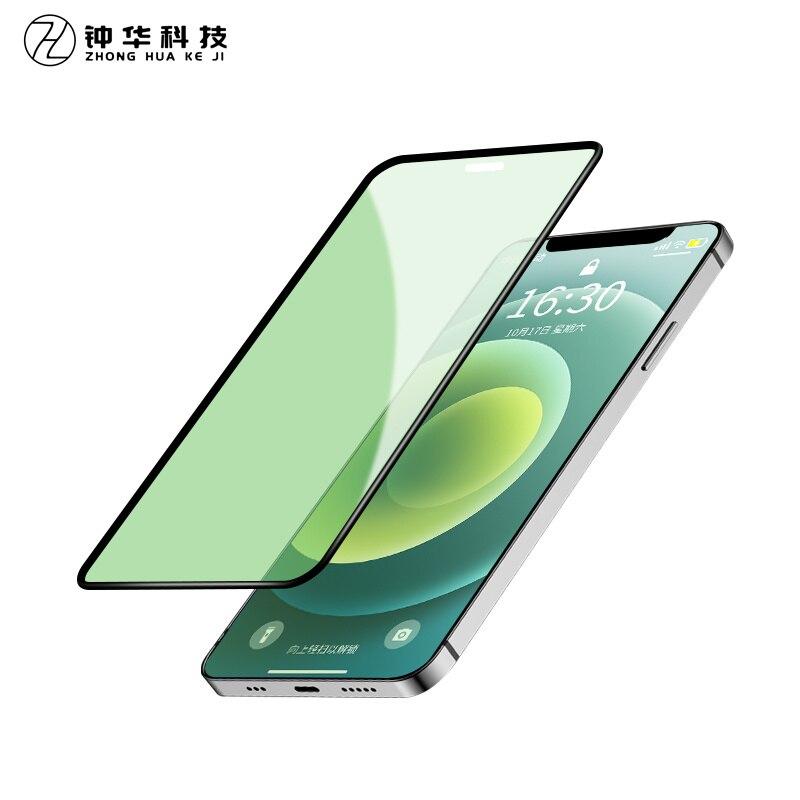 Zh luz verde real proteção para os olhos vidro temperado para iphone 12 11 promax x xr protetor de tela para iphone 6 7 8 plus filme frontal