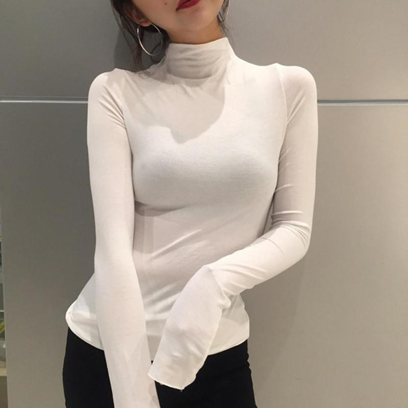 Women Autumn Bottoming Shirts High Collar Long-sleeved Slim Fit T-shirt Women Solid Color  Cotton Bottoming Tops  (White M)