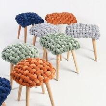 Детская мебель табурет Children's Stool Furniture Contracted Scandinavian Fashion Velvet Creative Solid Wooden Foot Low Stools