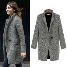 Fashion Long Woolen Women Coat Female Plus Size Winter Plaid Jacket Wool Blend Cape Coat Tweed Outwear drop shoulder plaid tweed plus size coat