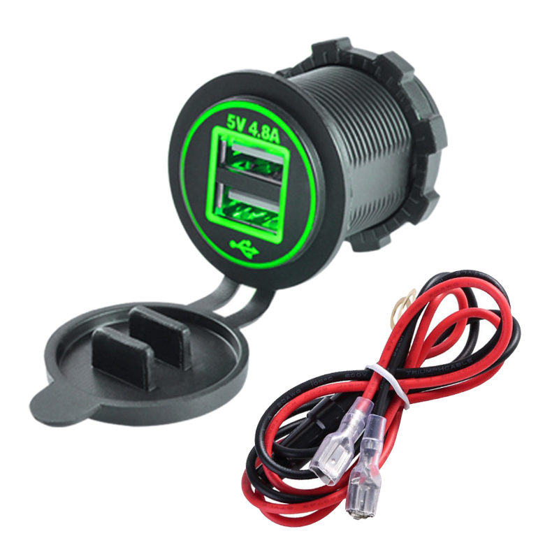 4.8A Dual USB Car Charger 2 Ports Power Socket Adapter with Dual Lights Multifunctional Quick Charging Ships Motorcycle Charger|  - title=