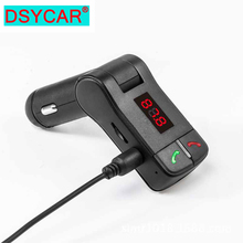 DSYCAR New SR06 Car Bluetooth Kit Handsfree Radio FM Transmitter Support TF Card U Disk MP3 Player Car charger for Car styling new handsfree wireless bluetooth car kit fm transmitter radio support u disk mp3 player phone app control car charger aux out