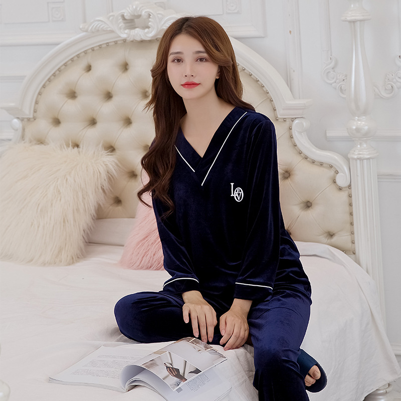 Pajamas Women's Winter WOMEN'S Pajamas Autumn And Winter New Products Gold Velvet Long-sleeved Pullover Trousers Set