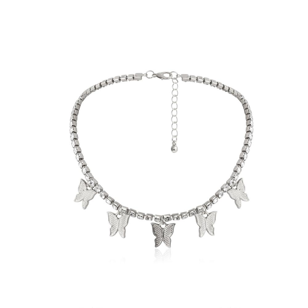 KMVEXO 2020 New Luxury Pink Crystal Butterfly Pendant Necklace for Women Fashion Rhinestone Animal Chokers Wedding Party Jewelry