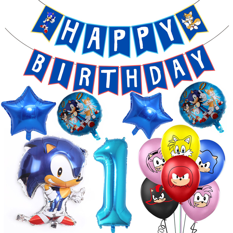 Sonic The Hedgehog Birthday Party Decoration Sonic Latex Balloons The Hedgehog Foil Balloon Birthday Party Supplies Toys For Kid Disposable Party Tableware Aliexpress