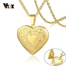 цена на Vnox Women Heart Locket Necklace Stainless Steel Photo Frame Memory Romantic Love Pendant for Female Promise Keepsake Gift