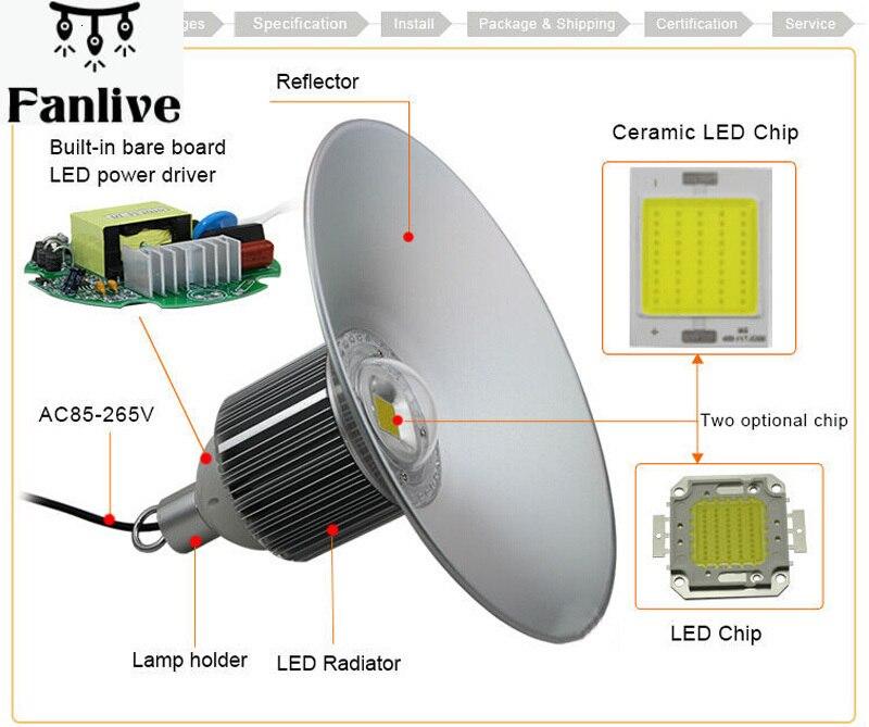 5pcs Led High Bay Light 30w 50w 80w 100w 120w Led Industrial Hanger Lights Led Canopy Lighting 3 Years Warranty
