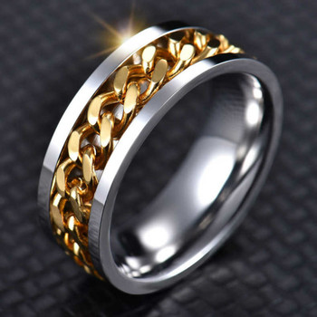 Let differy Cool Stainless Steel Rotatable Men Ring High Quality Spinner Chain Punk Women Jewelry for Party Gift image