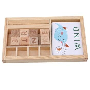 Bebé de juguete de madera de ortografía inglés juegos de palabra temprano letras educativas de cartón Montessori enseñanza de hechizo de bloques de construcción