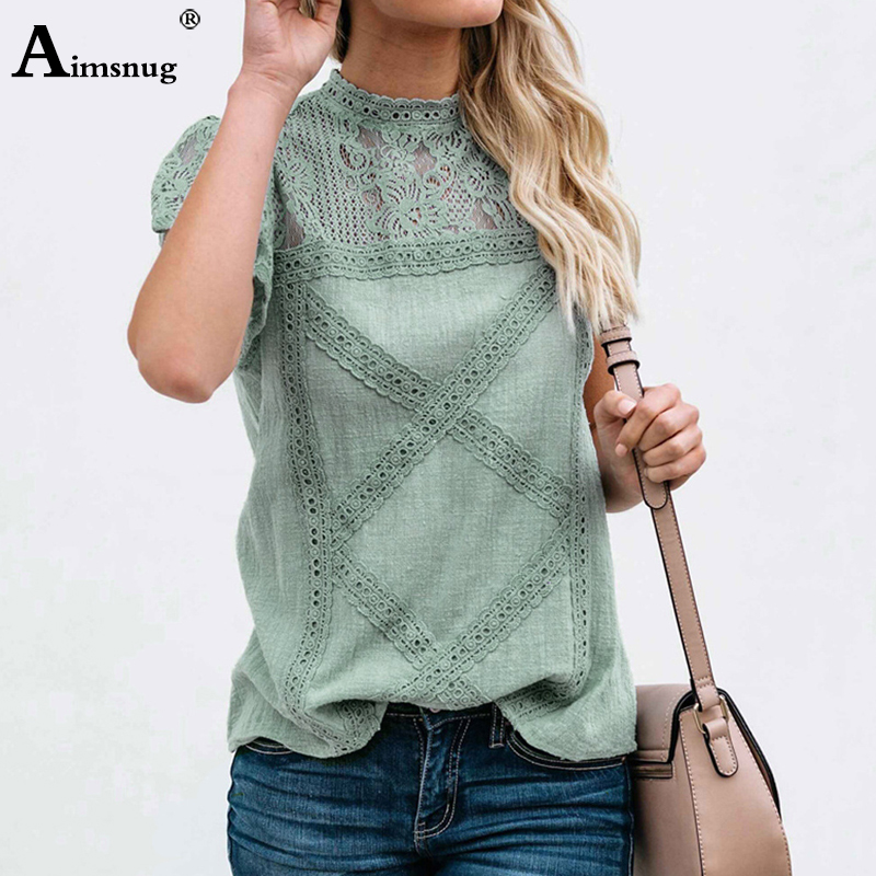 H55b0d4d0eac64b3dba42a62adccbf4feh - Aimsnug Women White Elegant T-shirt Lace Patchwork Female O-neck Hollow Out Shirt Summer New Solid Casual Women's Tops