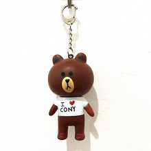 Creative bear key ring cartoon doll rabbit chain leather rope bag lovers hang accessories wholesale