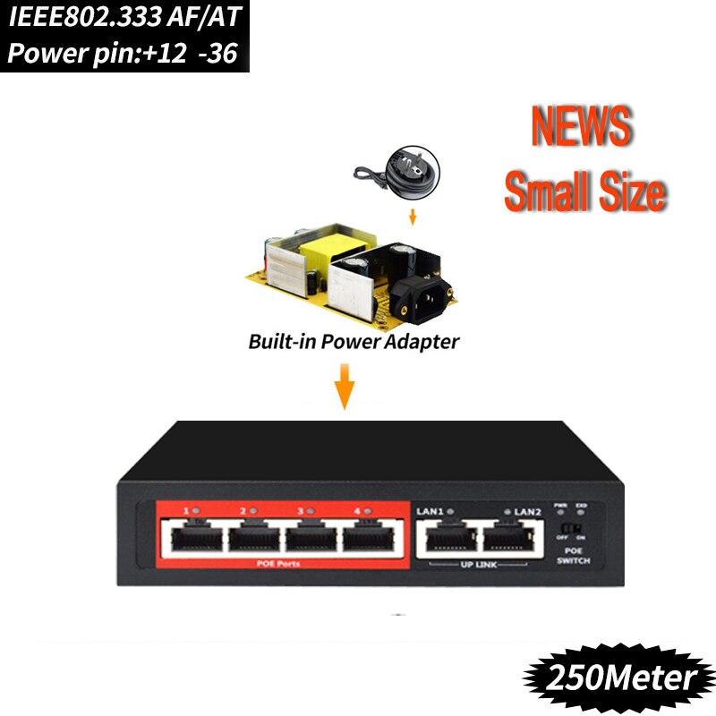 4 porta 48V switch POE Switch Ethernet con GLI STANDARD IEEE 802.3 af/a Adatto per IP fotocamera/telecamera Senza Fili AP/sistema di TELECAMERE CCTV