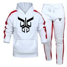 Tracksuit Men 2 Piece Sets 2021 New Brand Autumn Winter Print Hooded Sweatshirt+pants Pullover Hoodie Sportwear Suit