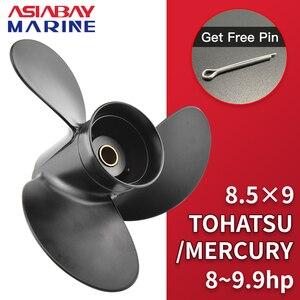 Image 1 - Outboard Propeller For Tohatsu Mercury 8hp 9.9hp 8.5*9 Boat Ship Aluminum Alloy Screw 3 Blade 12 Spline Marine Engine Part