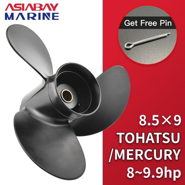 Outboard Propeller For Tohatsu Mercury 8hp 9.9hp 8.5*9 Boat Ship Aluminum Alloy Screw 3 Blade 12 Spline Marine Engine Part