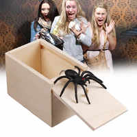 Prank Spider Wooden Scare Box Trick Play Joke Lifelike Surprise April Fools' Day Funny Novelty Toys Gags Practical Gifts