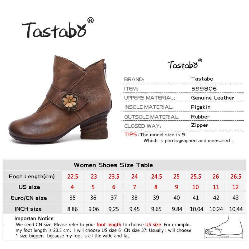 Tastabo hakiki deri manuel kadın çizmeler Vintage stil S99806 kahverengi gri rahat moda kış orta topuk aşınma dayanıklı taban