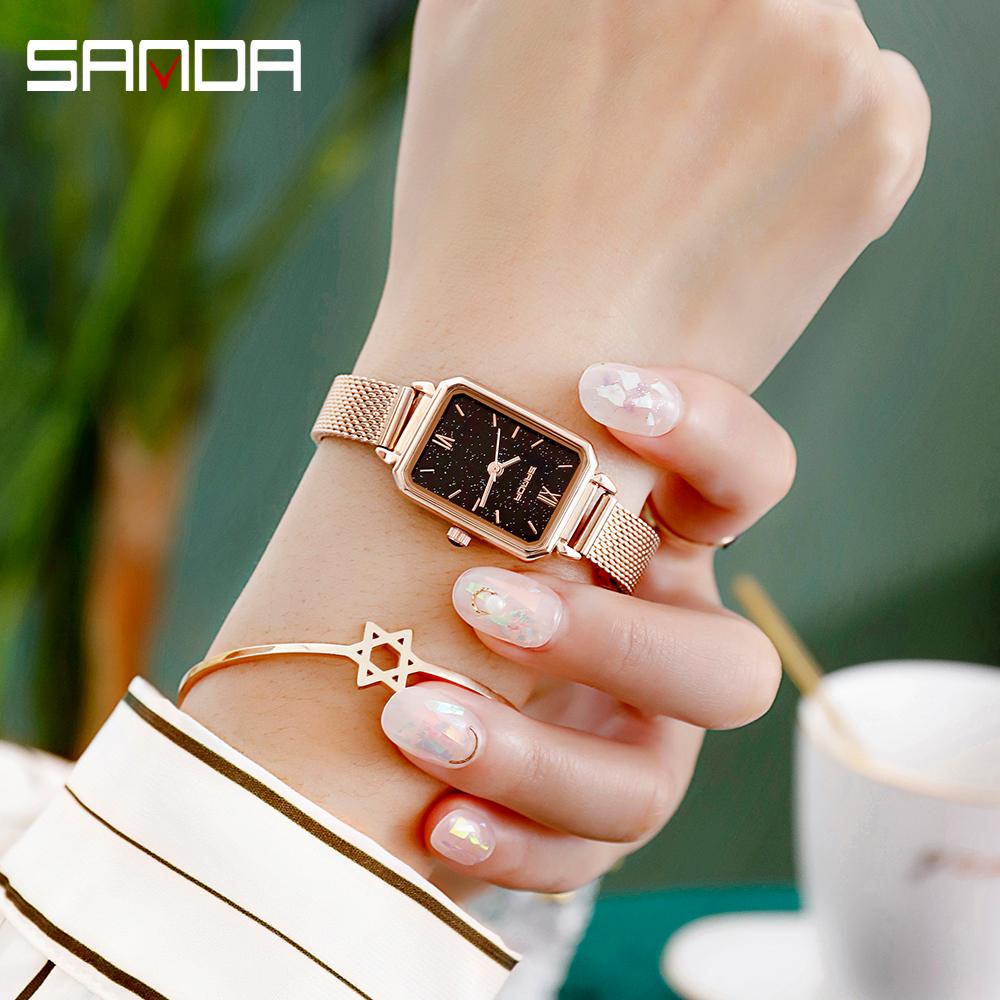 2020 SANDA High Quality Women Watches Luxury Brand  Ladies Wristwatch Clock for Women Rose Gold Quartz Watch relogio feminino