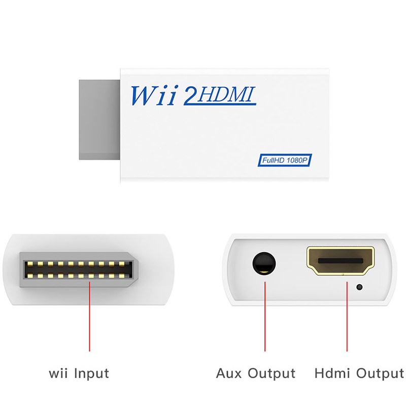 H55b1855cc0544cbeb03c57734cfcfe37O For Wii TO HDMI Converter Wii2HDMI with 3.5mm Audio Video Output Automatic Upscaler Adapter Support NTSC 480i PAL 576i 1080P