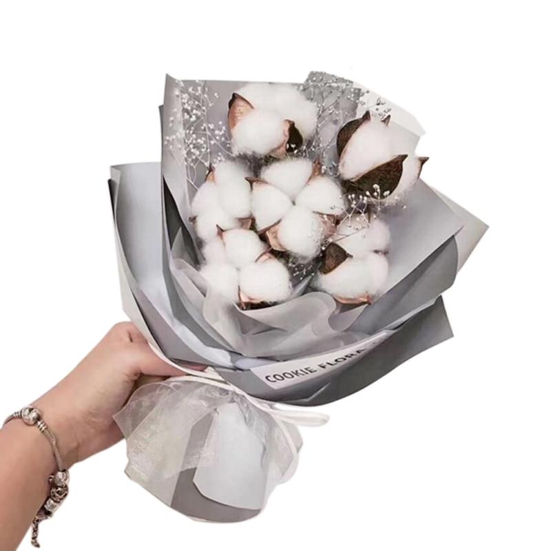 10 pièces boules de coton naturel fleur sèche mariage fleurs séchées plantes fleurs artificielles fête de noël décoration de la maison cinq color1
