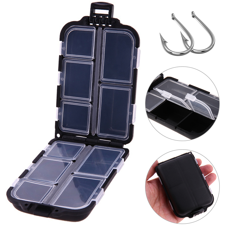 10 Compartments Mini Fishing Tackle Box Fishing Lure Hook Spoon Bait Tackle Plastic Convenient Box Fishing Tools Small Accessory