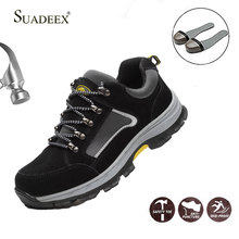 SUADEEX Safety Work Shoes Men Male Steel Toe Cap Boots Construction Shoes Safety Boots Work Anti-Smashing Protective Boots safety shoes steel toe sole for men anti smashing work boots work safety protective shoes men shoes