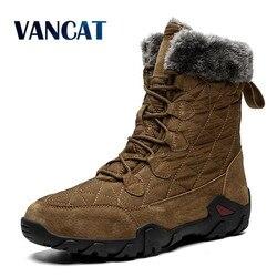 Novo inverno alta ajuda homem botas de neve à prova dwaterproof água homem botas de pele grosso pelúcia quente botas masculinas botas de tornozelo tamanho grande 38-48