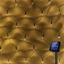 Светодиодная сетчатая гирлянда на солнечных батареях, 1,1x1,1 м, 2x3 м, для дома, сада, окна, занавески, декоративные огни для рождественской свадьбы