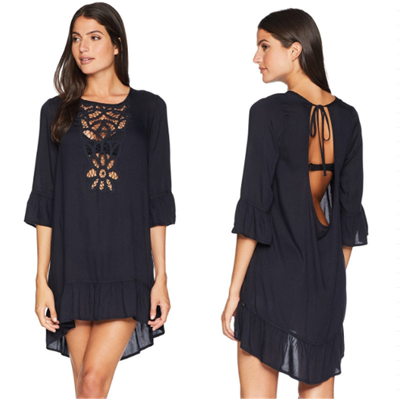 Kaftan Beach Dresses For Women Pareo Swimwear Outings Coverup 2019 Cotton Combo Front Lace Embroidery Backless Swimsuits With