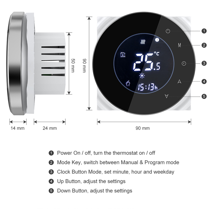 Wifi Smart Water/Gas Boiler Thermostat Tuya Remote Control Backlight Weekly Programmable LCD Touch Screen Temperature Controller 3