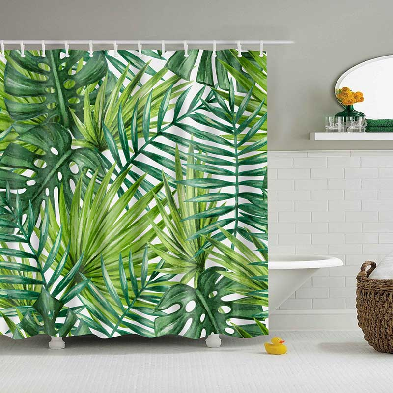 Image 3 - Green Tropical Plants Shower Curtain Bathroom Waterproof Polyester Shower Curtain Leaves Printing Curtains for bathroom shower-in Shower Curtains from Home & Garden