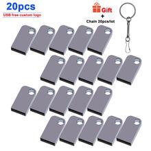 20pcs/lot Waterproof Metal Flash Drive 4GB/8GB/16GB/32GB/64GB/128GB Usb 2.0 Pen Drive Business Gadget Memory Stick free logo