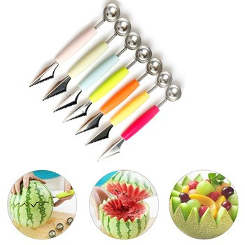 T Double Head Stainless Steel Fruit Digging Ball Spoon Corrugated Carving Knife Watermelon Fruit Platter Digging Spoon image