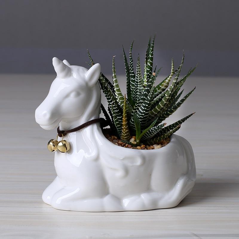 Animal Bonsai Flowers Plant Pot Home Office Desktop Decorative Plastic Succulent
