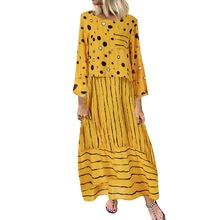 Women Polka Dot Printed Long Dress Casual Loose Fake Two-Piece Dress 2019 Summer Cotton Linen Maxi Dresses Plus Size M-5XL fashionable two piece cotton vest style dress black white size m