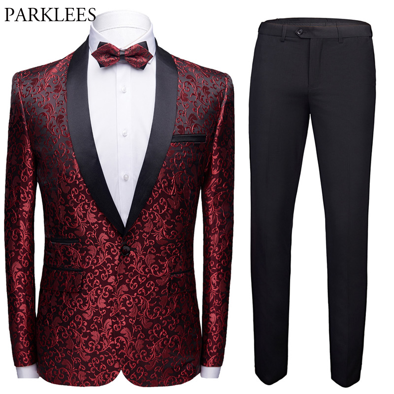 Jacquard Wedding Suits For Men (Jacket+Pants+Bowtie) Brand Slim Fit One Button Mens Suits With Pants Party Prom Costume Homme