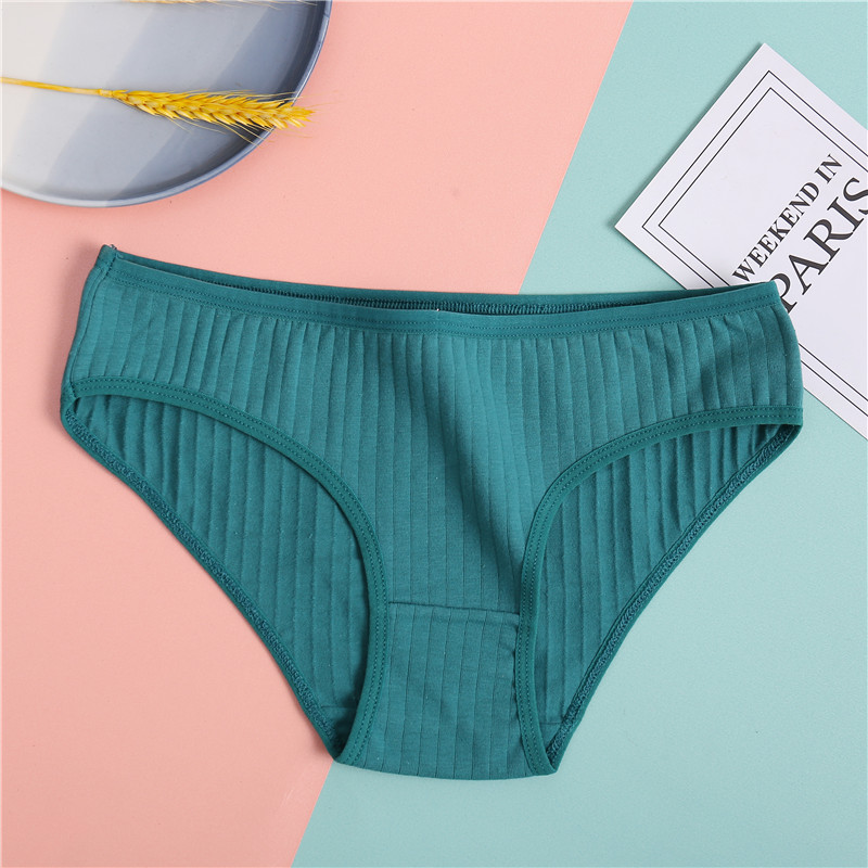 FINETOO Women's Underpants Soft Cotton Panties Girls Solid Color Briefs Striped Panty Sexy Lingerie Female Underwear M-XL Panty