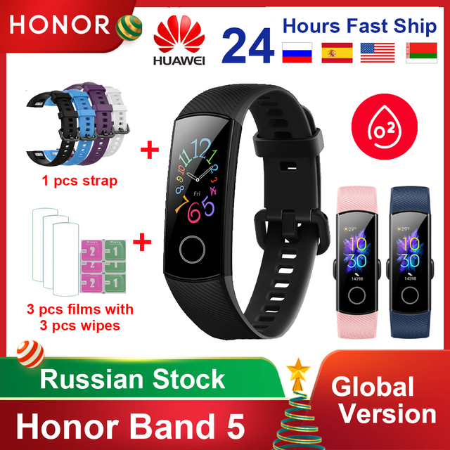 Original Huawei Honor Band 5 4/4e Global Version Blood Oxygen Smart Band Heart Rate Monitor Waterproof Fitness Watch Bracelet