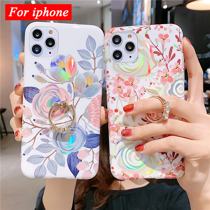 Fashion Art Leaf Flower Bling Raser Phone Back Case For Carcasa Iphone 11 Pro Max 8 Plus 7 6 6S XR Xsmax X Xs Ring Holder Cover