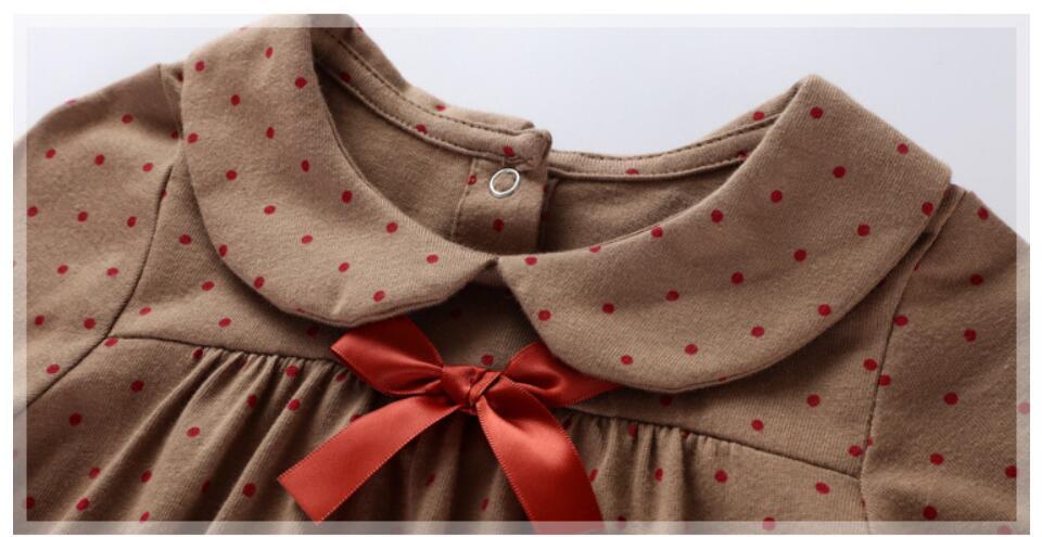 Little maven kids girls fashion brand autumn children's dress baby girls clothes Cotton dot print toddler Ribbon dresses S0510 2